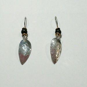 Hammered Silver Drop Pierced Earrings